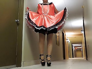 Sissy Ray in Bronze Maids Uniform in Hallway