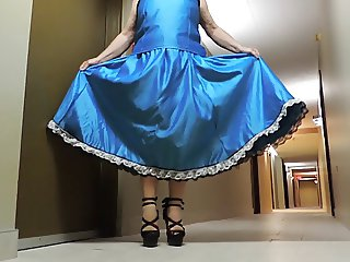 Sissy Ray in Blue Satin Evening Dress