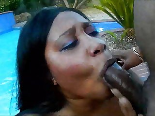 Black BBW Getting Gagged By The Pool