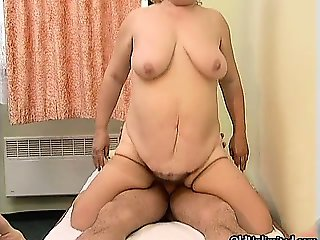 Nasty old whore goes crazy riding part6