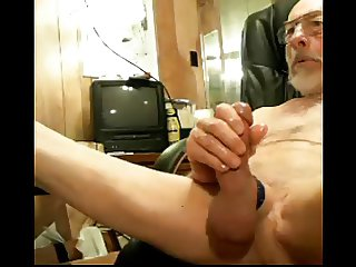 Grandpa jerks his cock and big balls on cam older mature