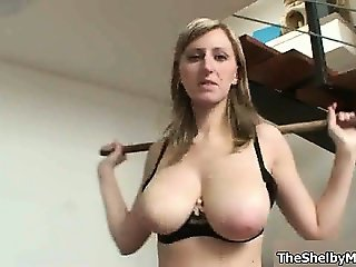 Big tits blonde loves doing her workouts part2