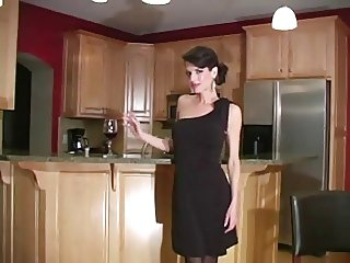 Skinny milf in black dress. JOI