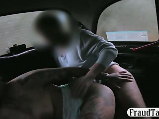 Horny amateur flirts with the cab driver who takes her to a quiet spot