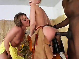 Brutal bottom threesome with cowboy
