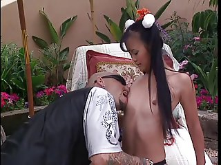 Bald guy fucks young asian girls pussy
