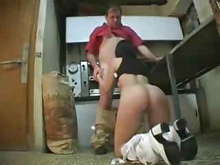 Young girl blow old man