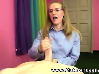 Spex mature tugging on his hard cock