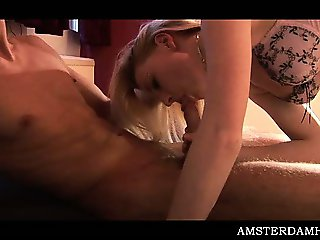 Amsterdam sex bomb fucking tourist dick in mouth and pussy