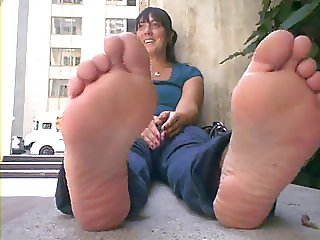 Woman with huge stinky feet