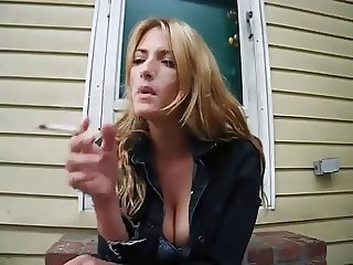 blonde girl smoking