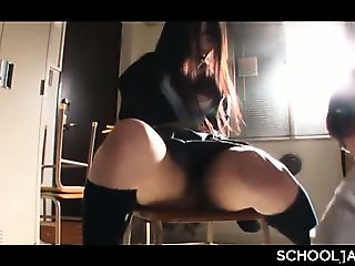 Naughty jap professor fucking his student tied up on a chair