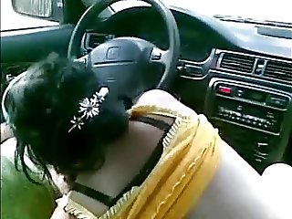 Polish hooker give a routine head in car.