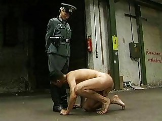 Naked Jew Kissing The Boots of His Nazi Captor