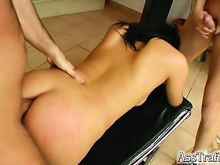 Meet an incredible brunette with hypnotizing eyes. Our boys go straight to her ass without hesitation. After a hot double penetration she swallows two loads