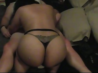 Caged CD ass fucked with big strap on cock
