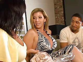 Ricki White and blond sucking black cock then jerk off guy on sofa