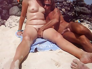 Gina gets some attention on the beach.