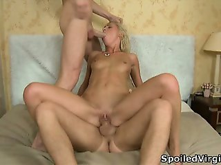 Posh blond loses her virginity in threesome.