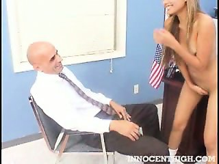 Sexy Asian exchange student strips and sucks her teachers cock