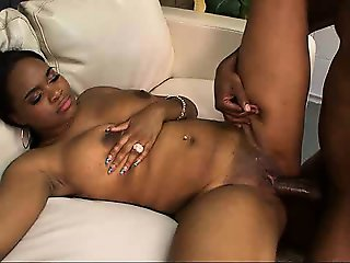 Busty black babe taking hard cock