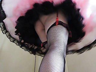 Sissy Ray in Pink Sissy Dress Swirling around (Upskirt)