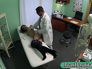Milf wants to have breast implants fucked with fraud doctor