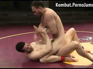 Naked male wrestlers go for the cock