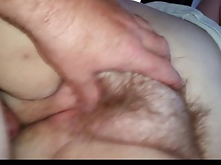 wife having an orgasm as i thumb her plump hairy pussy