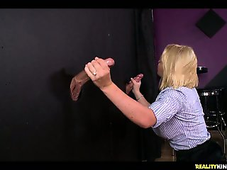Krissy gets to have fun with two dicks behind the glory