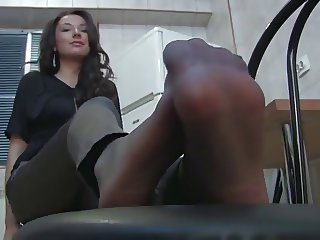 Alison Leather Tights And Pantyhose Tease