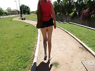 Micro skirt no panties in public park