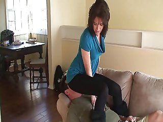 Overbearing wife smothers in tights