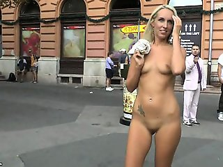 Sweet Jenny shows her sexy body on public streets