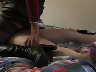Riding my boyfriend while wearing sexy over-the-knee boots