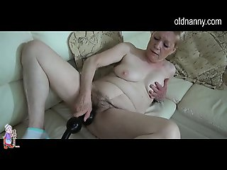Old BBW Granny has fun on couch with big long dildo