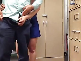 Teasing her boss in satin slip 2