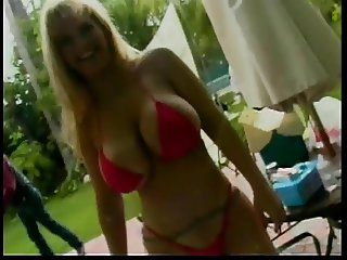 Horny blonde MILF with huge tits gets her pussy licked outdoors then fucks