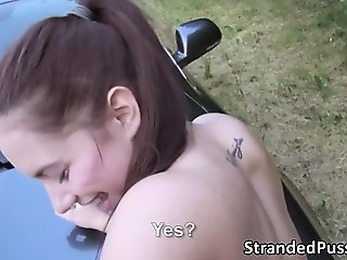 Sexy Jenny gives a blowjob to a stranger