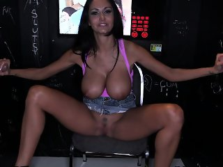 Busty Ava Addams playing with two cocks