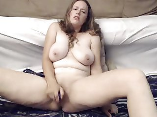 Big natural breasts girl fucks pussy with toy