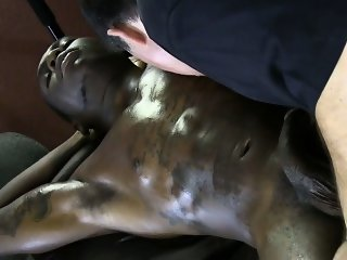 Straight black guy cums at his massage