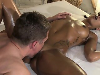 Beautiful tanned brunette fucking masseur