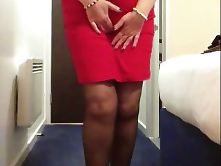 Sexy granny red dress big tits strips naked