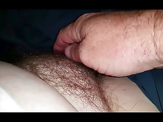 exposing & gently feeling the wifes tired hairy pussy