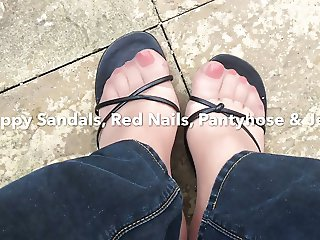 Strappy Sandals Red Nails Pantyhose & Jeans