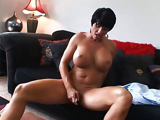 Hot Mature Busty Brunette Cougar Bangs and Wears It