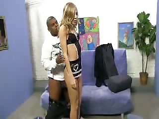 Blonde Teen maid swallows black pipe load