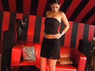 EVE ANGEL PLAYS WITH HERSELF ON A BLACK&RED BACKGROUND