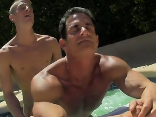 Gay XXX Daddy Poolside Prick Loving